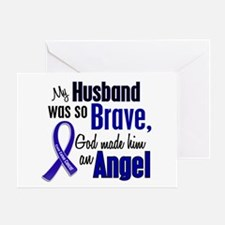 Angel 1 HUSBAND Colon Cancer Greeting Card