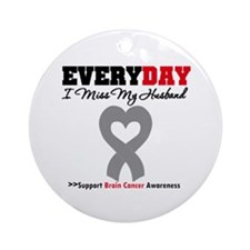Brain Cancer Husband Ornament (Round)