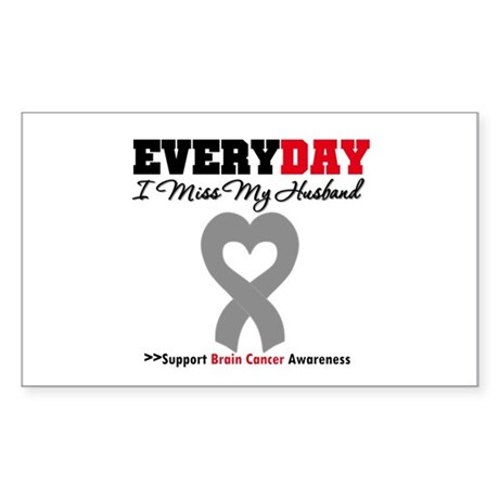 Brain Cancer Husband Rectangle Sticker