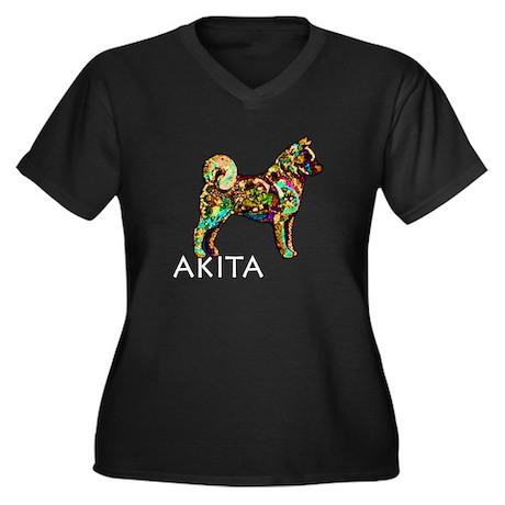 Glow Bright Akita Women's Plus Size V-Neck Dark T-