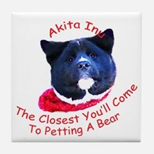 Petting a Bear Tile Coaster