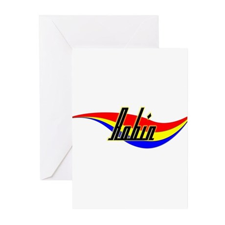Robin's Power Swirl Name Greeting Cards (Package o
