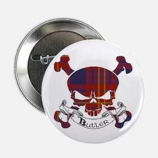 "Butler Tartan Skull 2.25"" Button"