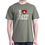 I Love Cajun Girls Dark T-Shirt