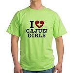 I Love Cajun Girls Green T-Shirt