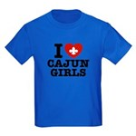 I Love Cajun Girls Kids Dark T-Shirt