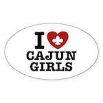 I Love Cajun Girls Oval Sticker (10 pk)