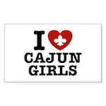 I Love Cajun Girls Rectangle Sticker