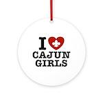 I Love Cajun Girls Ornament (Round)