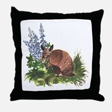 Armadillo with Bluebonnets Throw Pillow