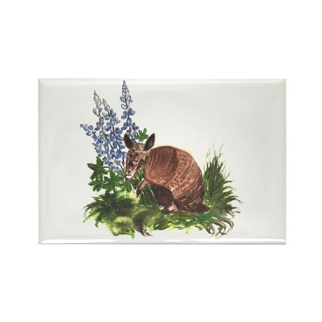 Armadillo with Bluebonnets Rectangle Magnet (10 pa