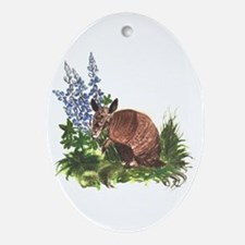 Armadillo with Bluebonnets Oval Ornament