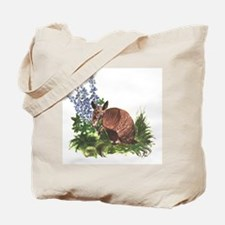Armadillo with Bluebonnets Tote Bag