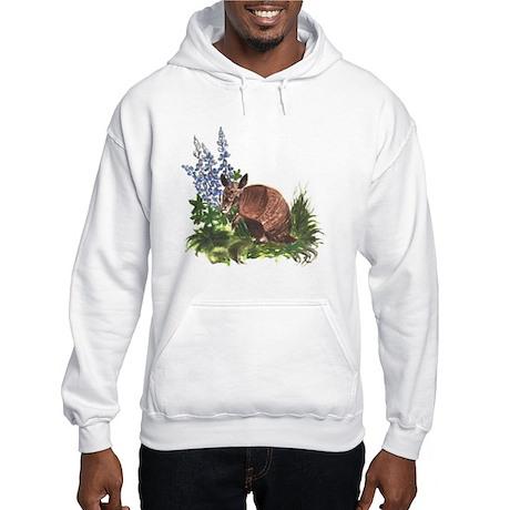 Armadillo with Bluebonnets Hooded Sweatshirt