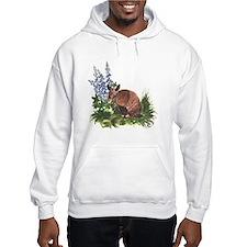 Armadillo with Bluebonnets Hoodie Sweatshirt