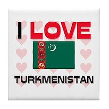 I Love Turkmenistan Tile Coaster