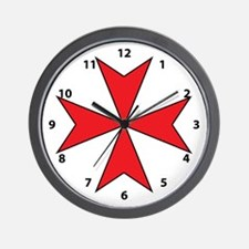 Red Maltese Cross Wall Clock