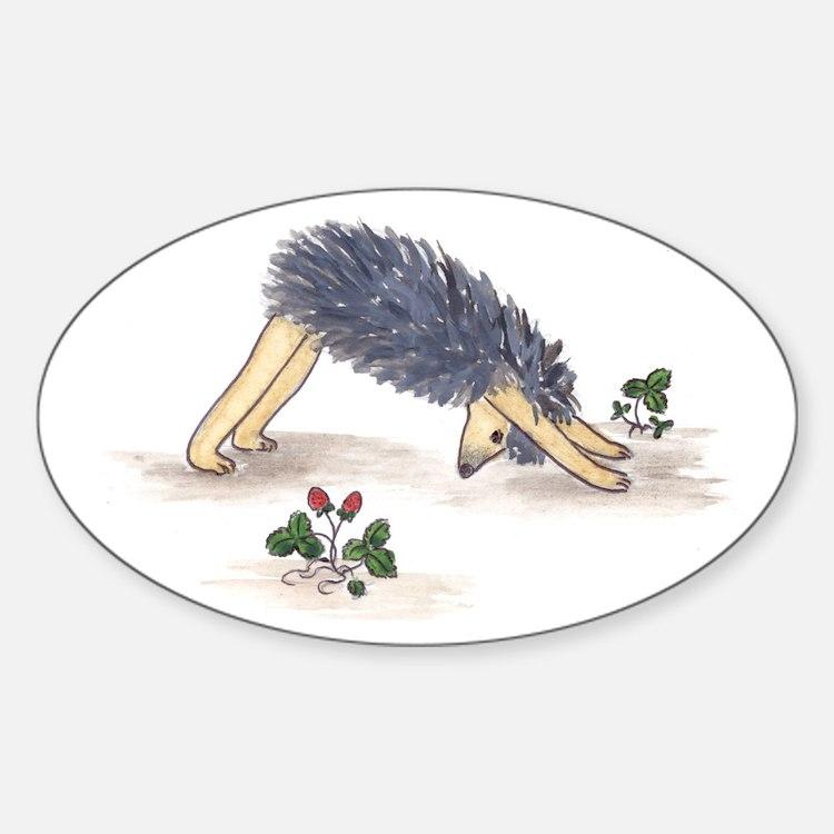 Downward Facing Yoga Hedgehog Oval Decal