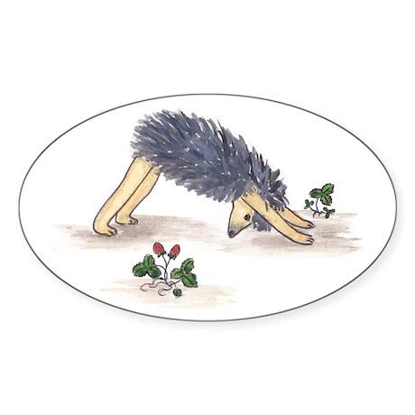 Downward Facing Yoga Hedgehog Oval Sticker