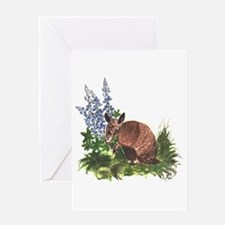 Armadillo with Bluebonnets Greeting Card
