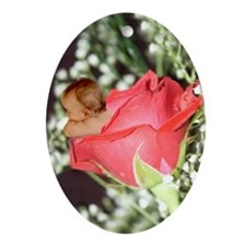 Rose Flower Baby Oval Ornament
