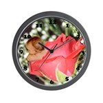 Rose Flower Baby Wall Clock