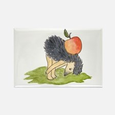 Hedgehog Apple Yoga Rectangle Magnet