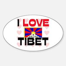 I Love Tibet Oval Decal