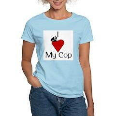 I Love (heart) My Cop (policeman hat) Women's Pink