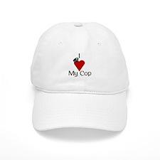 I Love (heart) My Cop (policeman hat) Baseball Cap