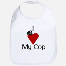 I Love (heart) My Cop (policeman hat) Bib