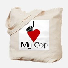 I Love (heart) My Cop (policeman hat) Tote Bag