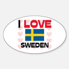 I Love Sweden Oval Decal