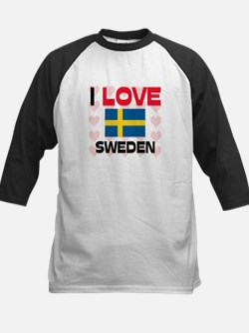 I Love Sweden Kids Baseball Jersey
