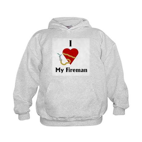 I Love (heart) My Fireman (hose) Kids Hoodie