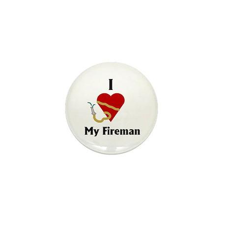 I Love (heart) My Fireman (hose) Mini Button (100