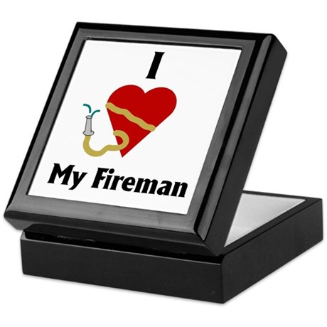 I Love (heart) My Fireman (hose) Keepsake Box