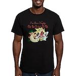 Naughty Elf & Santa Men's Fitted T-Shirt (dark)