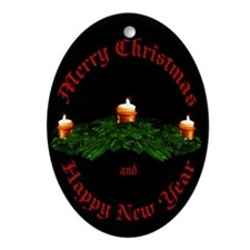 Merry Christmas Candles Oval Ornament