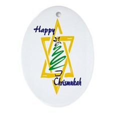 Happy Chrismukah Oval Ornament