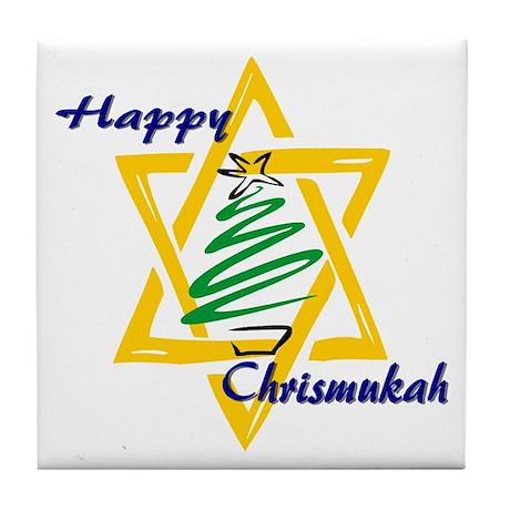 Happy Chrismukah Tile Coaster