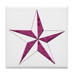 Nautical star pink Tile Coaster