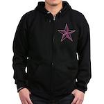 Nautical star pink Zip Hoodie (dark)
