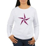 Nautical star pink Women's Long Sleeve T-Shirt