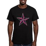 Nautical star pink Men's Fitted T-Shirt (dark)