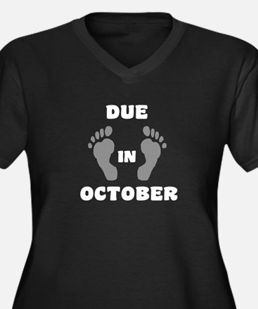 Due In October Women's Plus Size V-Neck Dark T