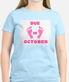 Due In October T-Shirt (pink feet)