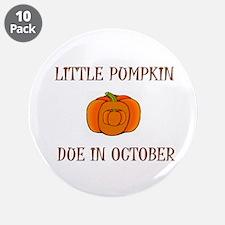 """Little Pumpkin 3.5"""" Button (10 pack)"""