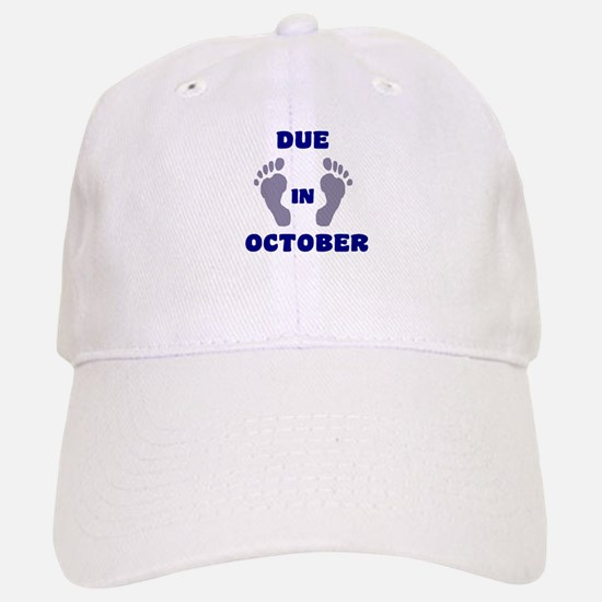 Due In October Baseball Baseball Cap (blue feet)