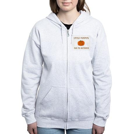 Little Pumpkin Due In October Women's Zip Hoodie